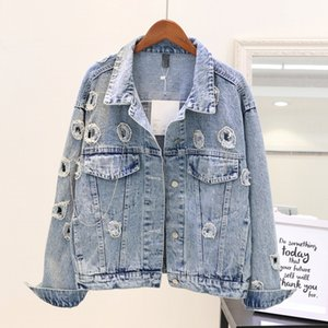 Wholesale 2018 New Fashion Autumn Women s Loose Cowboy Jacket Diamonds Bead Long Sleeve Denim Coat Students Jeans Outwear