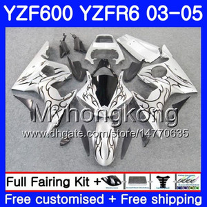 Wholesale r6 silver resale online - Body For YAMAHA YZF YZF R6 YZF R6 Bodywork HM YZF R YZF600 YZFR6 Black flames silver Fairings Kit