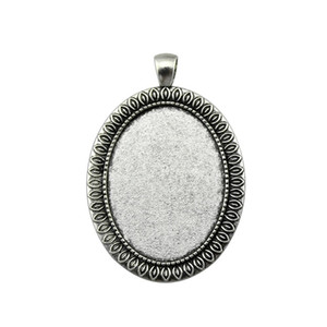 5 Pieces Cabochon Cameo Base Tray Bezel Blank Accessories Parts Leaf Classic Inner Size 30x40mm Oval cameos and cabochons