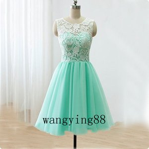 Wholesale Short Mint Green Homecoming Dresses Real Pictures Knee Length Back to School Black Girls Cute th Grade Graduation Party