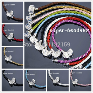 Free 20PCS 3mm Mixd Braid leather Bracelets Fit Charm European Beads HOTFree