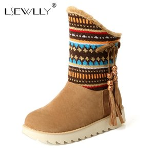 Wholesale Lsewilly Snow Boots platform women winter shoes waterproof ankle boots lace up fur brown black short big size AA556