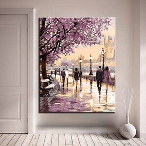 Wholesale canvas art oil painting blossom resale online - Cherry Blossoms Road Diy Oil Painting By Numbers Kits Wall Art Picture Home Decor Acrylic Paint On Canvas For Arts