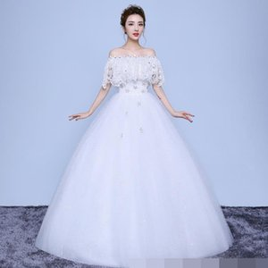 Wholesale Wedding Dresses white Lace Appliques Beaded off shoulder Pictures Real Plus Size ball gown Custom made Long Prom Party Dress Hot Sale