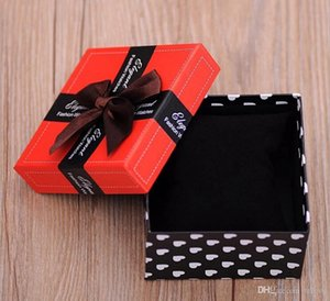 Wholesale Bow Square Shaped Paper Gift Box Packing For Wristwatches Watch Box Hard Case For Bracelet Bangle Jewelry Boxes