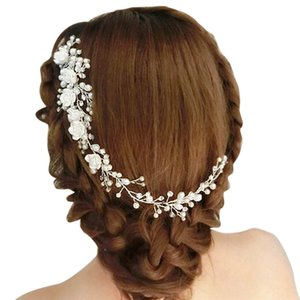 Wholesale Wedding Hair Jewelry For Bridal White Flower Rhinestone Fake Pearl Hair Comb Lengthen Headdress Wedding Clip For Women Gift