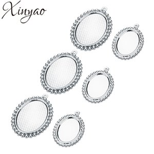Wholesale XINYAO Stainless Steel Pendant Base Oval Cabochon Base Bezel Tray for Diy Jewelry Making X18mm X25mm F7410