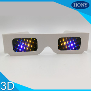 Wholesale DHL White Paper D Cheap Fireworks Diffraction prism glasses for Raves Festivals Light Shows Clubs Concerts