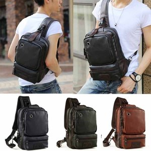 Wholesale Mens Leather Sling Backpack Shoulder Crossbody Cycle Unbalanced Bags Satchel