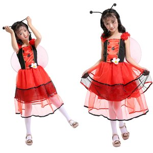 vestidos bonitos al por mayor-Ropa para niños Niñas Pretty Ladybird Fairy Play Clothes Princess Dress Vestidos para niñas Disfraces de Halloween Disfraces para niños Disfraces de cosplay