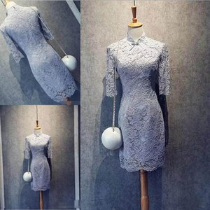 Wholesale Elegant Light Gray Lace Mother of the Bride Dresses High Collar Half Sleeves Elegant mother s Dress Cheap Custom Made