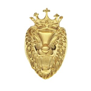Wholesale stainless steel lion head ring resale online - Crown Lion Head Ring Gold Plated Stainless Steel Ring Male and Female Jewelry Four Sizes Optional
