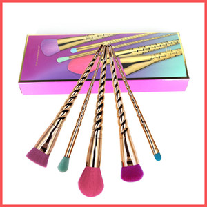 Wholesale Factory Direct DHL Free makeup brushes sets cosmetics brush bright color rose gold Spiral shank make up brush screw makeup tools