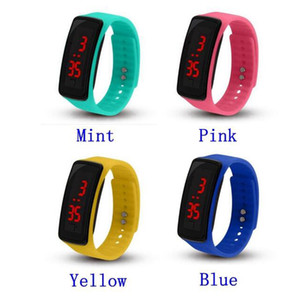 Wholesale New Fashion Sport LED Watches Candy Jelly men women Silicone Rubber Touch Screen Digital Watches Bracelet Wrist watch free DHL