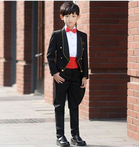 Wholesale Good Quality Shawl Lapel Boy Black Tailcoats With A Gold Rim Four Piece Suits Blazer Pant Shirt Bow Tie Polyseter Material Viscose