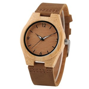 Creative Women Watches Genuine Leather Band Bamboo Case Ladies Watch Wooden Light Yellow Dial Modern New Style Analog Clock Girl