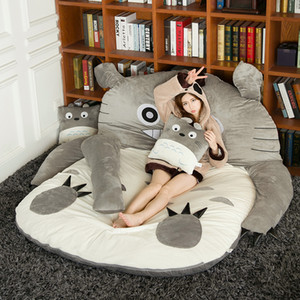 Wholesale Japanese anime Totoro plush beanbag cartoon cat bed tatami mattress cute children sleeping bag for adults and kids gift DY50341
