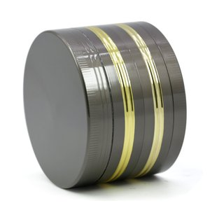 Herb Grinder 63mm diameter flat plate gun black gold edge grinder 4 part Metal Grinder Zinc Alloy OEM logo
