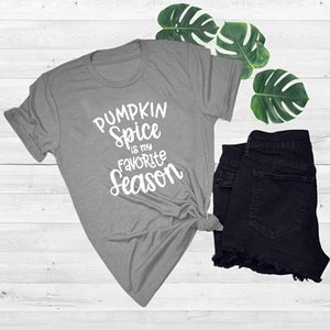 Wholesale Women s Tee Pumpkin Spice Is My Favorite Season T shirt Halloween Funny Cotton Shirt Unisex High Quality Fast Delivery Grunge Goth T Shirt