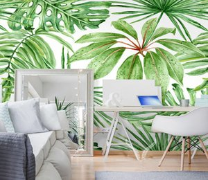 Wholesale Green tropical leaves poster mural wallpaper for living room wall decoration discount wallpapers