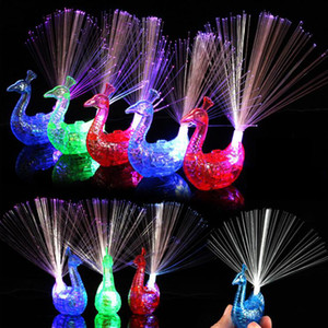 Wholesale Flash LED Light up Rings Peacock Finger Light Party Gadgets Kids Intelligent Toy For Party Xmas Gift Night Market Selling