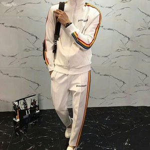 Wholesale Palm Angels SS Rainbow Sports Set Luxury Zipper Jacket Pants Men Women Sweatshirt Casual Coat Tops Pants Fitness Tracksuit HFYMTZ011