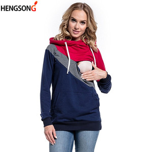 Pregnant Women Hoodies 2018 Autumn Jacket Color Patchwork Pullover Maternity Clothes Long Sleeve Nursing Top Breastfeeding Hoody