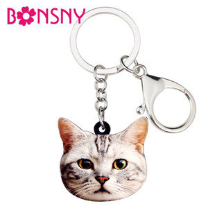 Wholesale Statement Acrylic Sweet Cat Kitten Key Chains Keychains Rings Animal Jewelry For Women Girls Handbag Charms Dropshipping