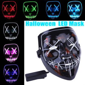 Halloween mask LED light Up funny purge mask Year of the election ideal for Festival Cosplay Halloween toy