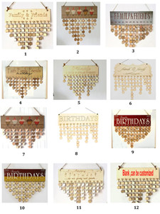 Wholesale DIY Wooden Faith Family and Friends Happy Birthday Calendar Reminder Board Birch Plaque Sign Gift Multi Styles Home Decoration