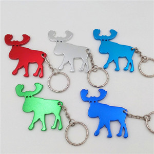 Wholesale Multifunction Opener Animal Moose Elk Wine Beer Bottle Cap Opener Outdoor Edc Cute Reindeer Key Ring Key Chain Keyring