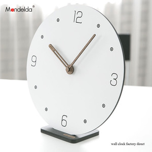 Hot Sale Mandelda DIY Creative Silent Bracket Smart Wall Clock White Digital Circular Wooden Watch on Wall for Home Decoration