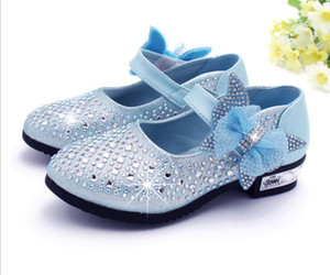 Girls leather Shoes Children Rhinestone Glitter Kids leather Shoes Princess Girls Sandals Toddler Big Girls Wedding Party Shoes on Sale