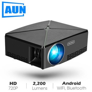 AUN MINI Projector C80 UP, 1280x720 Resolution, Android WIFI Projector, LED Portable HD Beamer for Home Cinema, Optional C80Android WIFI