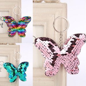 Wholesale car accessories for girls resale online - Beautiful Butterfly Keychain Glitter Sequins Keyfob Gift For Women Girl Laveros Mujer Car Bag Pendant Accessories Key Rings Styles