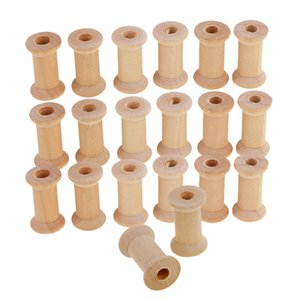 Wholesale Useful Empty Wooden Bobbin Spools for Embroidery Thread Wire Natural Color for Needlework Sewing Notion Diy Craft Tools