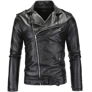 Wholesale Mens Streetwear PU Leather Jackets Metal Buttons Zipper Biker Jackets Black White Winter Windbreaker