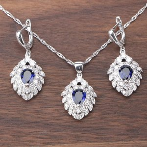 Silver 925 Jewelry Women Bridal Cubic Zirconia Costume Jewelry Sets Earrings With Red White Stones Pendants Necklace Set
