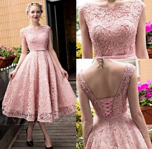 2018 Pink Elegant Tea Length Full Lace Prom Dresses Bateau Neck Cap Sleeves Corset Back Pearls A-line Party Gowns with Bow on Sale