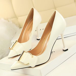 Wholesale Korean fashion simple occupation OL high heeled shallow mouth pointed metal belt buckle sexy thin single shoes