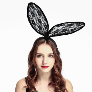 cintas para el pelo de malla al por mayor-Nuevo Floral Mesh Bunny Ear Headband Party Black Rabbit Lace Floral Alice Band Accesorios para el cabello colores