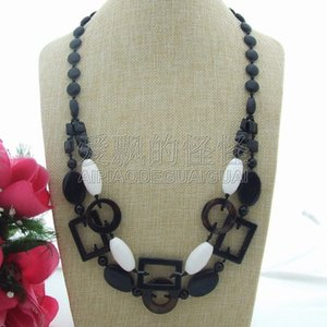 "N080149 29"" 2 Rows Onyx White Porcelain Necklace on Sale"