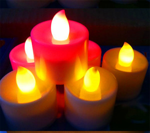 Stock in US Flickering Battery Operated LED Candle Tea light yellow Candles Flameless Smokeless Romantic Candle Light