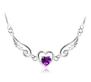 Wholesale 925 Sterling Silver Angel Wings Love Heart Necklaces Pendants Rhinestones Silver Chain Necklace Women Fine Jewelry