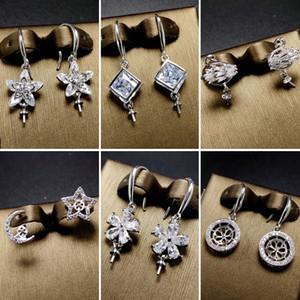 DIY Pearl Earrings Setting Zircon Solid 925 Silver Earring Setting Pearl Eardrop Mounting Earings Blank DIY Jewelry Gift for Fmale 14 Styles