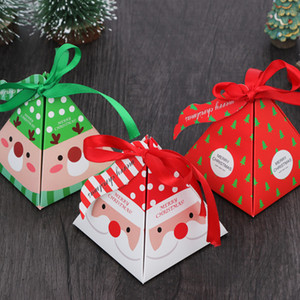 Wholesale 50 Merry Christmas Candy Box cookies Bag Christmas Tree Gift Box With Bells Paper Container Supplies