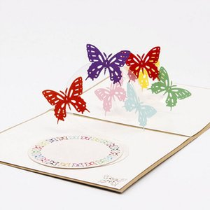 Wholesale 3D Pop Up Origami Paper Laser Cut Greeting Cards Handmade Vintage Rainbow Bufferflies Birthday Postcards DIY Thank You Cards