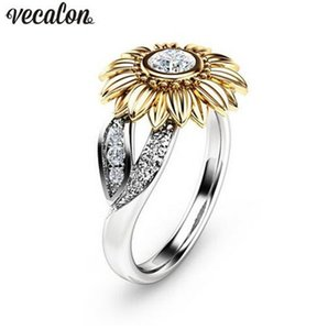 Wholesale sunflowers ring for sale - Group buy Vecalon Charm CZ Stone Ring Bague Femme Sterling silver Filled Sunflower Crystal Wedding Rings for Women Drop Shipping Gift
