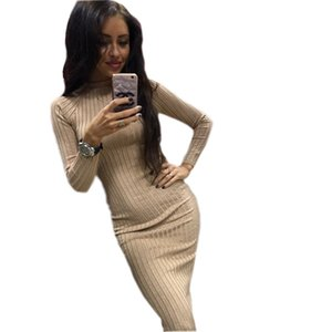 Wholesale 2018 Women s Knitting Autumn Winter Dresses Midi Robe Sexy Slim Bodycon Dress Long Sleeve Christmas Package Hip Vestidos