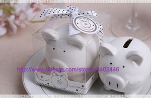 schweinebank großhandel-50Sets Kinder Kind Geschenk Hochzeitsgeschenke Keramik Schwein Piggy Bank Münze Bank Dekoration Gefälligkeiten Party Storage Saving Can Tanks weiß